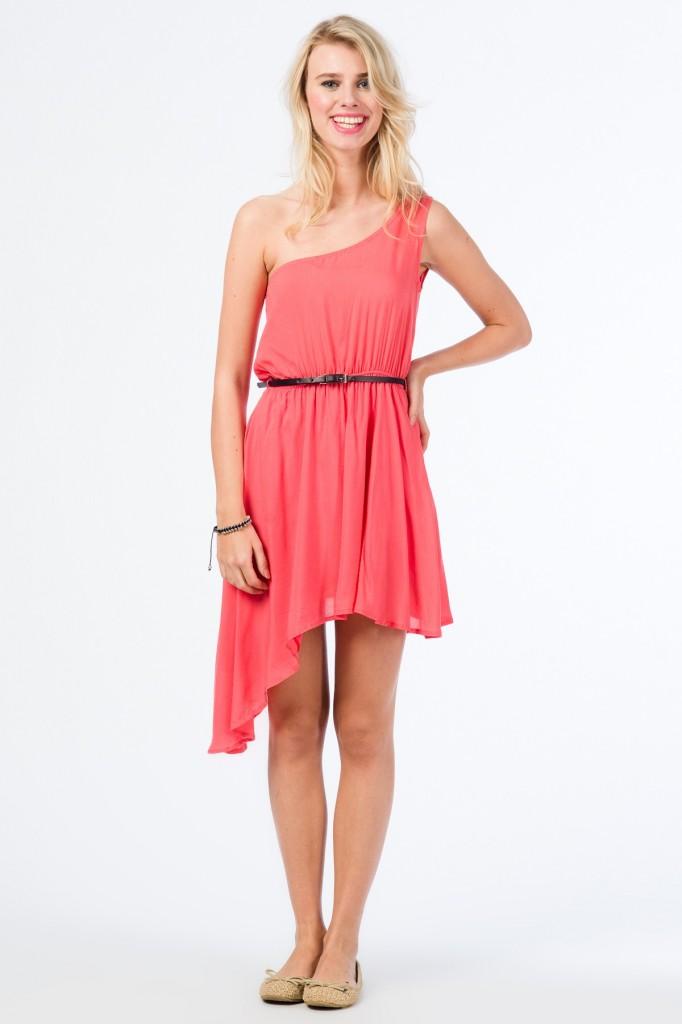 Tek Omuz Somon Elbise 2015 Colin's Modelleri