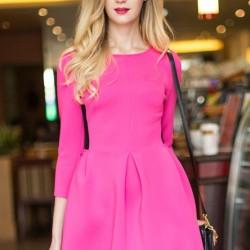 Yarım Kol Pembe Elbise Modelleri