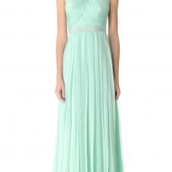 Çapraz Askılı Uzun Mint Yeşili Elbise Modelleri