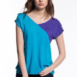Çift Renk Mavi 2015 Bluz Modelleri