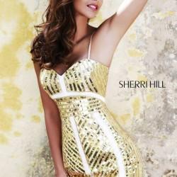 İddialı Gold Mini Sherri Hill Abiye Modelleri