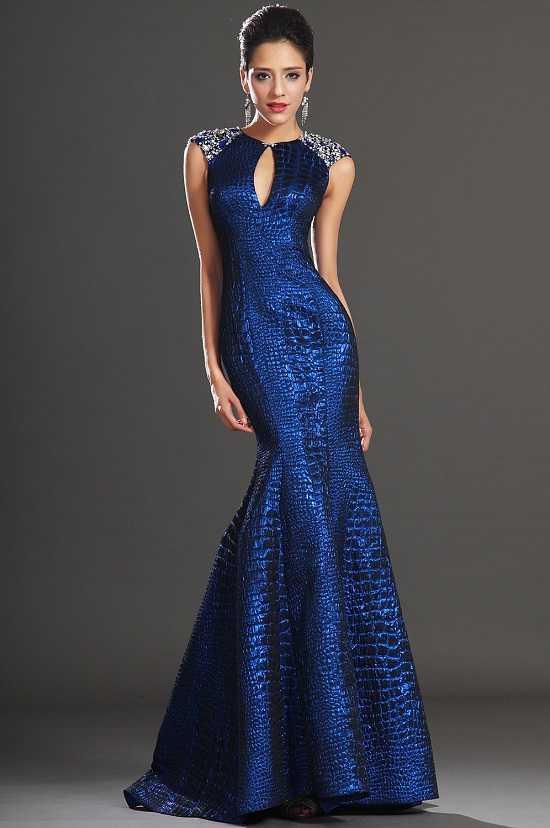 Balık Modeli Saks Mavisi Yeni Sezon Kolsuz Abiye Modelleri
