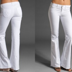 Beyaz Yeni Sezon İspanyol Paça Pantolon Modelleri