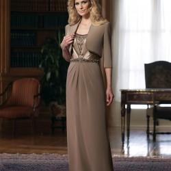 Bolerolu Toprak Rengi Elbise Modelleri