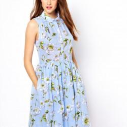 Cep Detaylı Çiçekli Yeni Sezon Bayramlık Elbise Modelleri