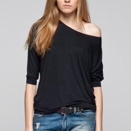 Düşük Omuz Siyah Mavi 2015 Bluz Modelleri