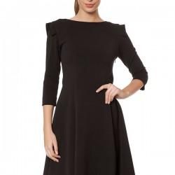 Düz Siyah Yeni Sezon Kolları Volanlı Elbise Modelleri