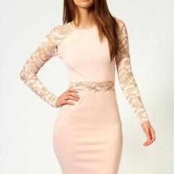 Dantel Detaylı Pudra Yeni Sezon Keten Elbise Modelleri