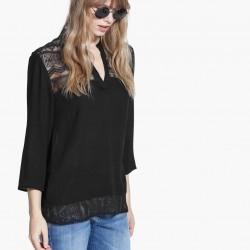 Dantel Detaylı Siyah Yeni Sezon Mango Bluz Modelleri