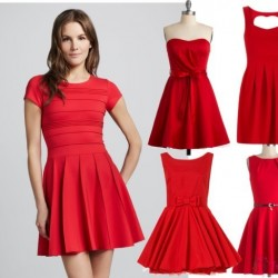 Kırmızı Yeni Sezon Bayramlık Elbise Modelleri