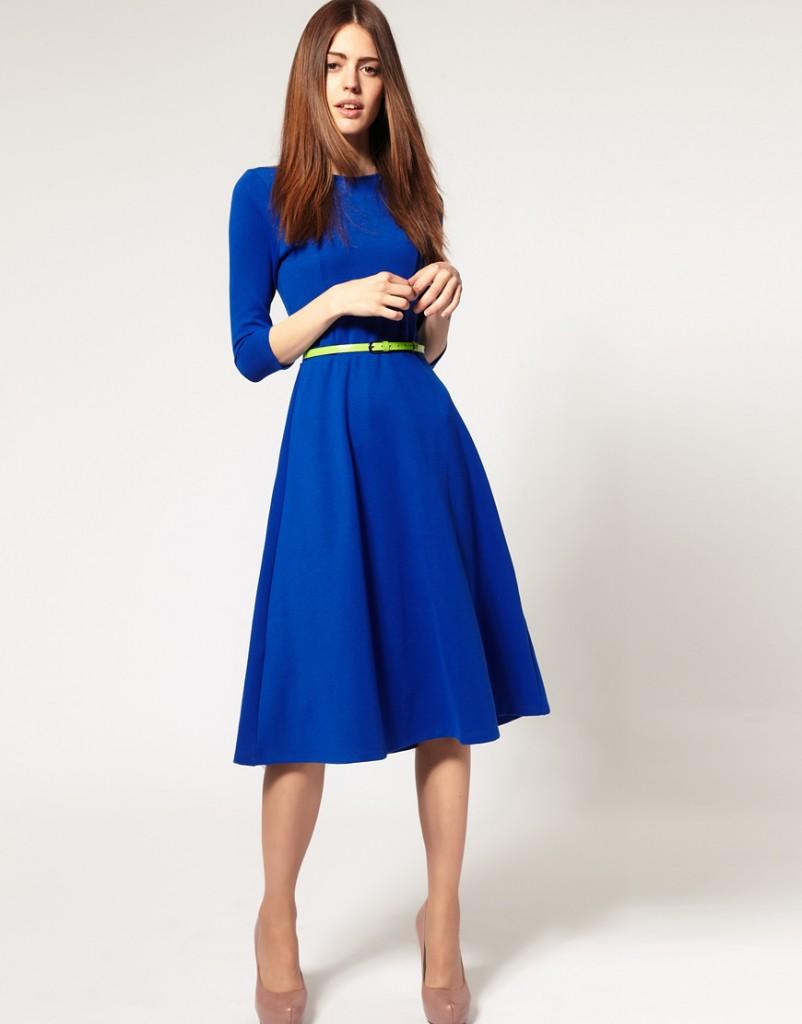 Koyu Mavi Yeni Sezon Midi Elbise Modelleri