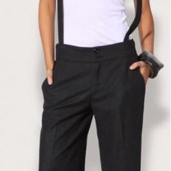 Kumaş Siyah Bayanlar İçin Askılı Pantolon Modelleri