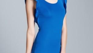 Mavi Yeni Sezon Kolları Volanlı Elbise Modelleri