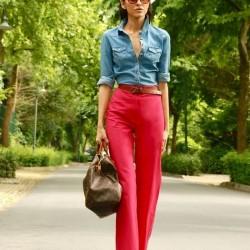 Pembe Yeni Sezon İspanyol Paça Pantolon Modelleri