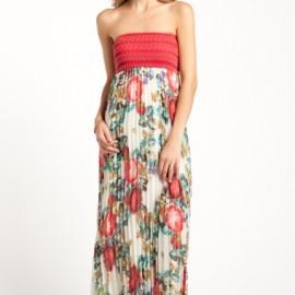 Pileli Çiçek Desenli Elbise Modelleri