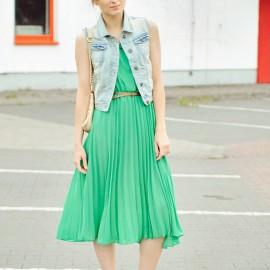 Pileli Mint Yeşili Elbise Modelleri