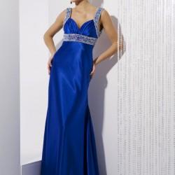 Süslemeli Saks Mavisi En Şık Nedime Abiye Modelleri