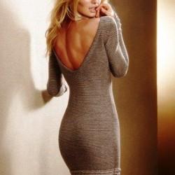 Sırt Dekolteli Yeni Sezon Örgü Elbise Modelleri