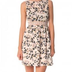Sade Çiçek Desenli Elbise Modelleri