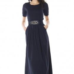 Sade Lacivert Yeni Sezon Bayramlık Elbise Modelleri