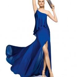 Saks Mavisi Yeni Sezon Yırtmaçlı Abiye Modelleri
