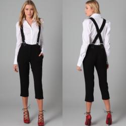 Siyah Bayanlar İçin Askılı Pantolon Modelleri
