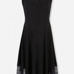 Tül Detaylı Siyah Vakko Elbise Modelleri