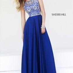 Taş Süslemeli Saks Mavisi Sherri Hill Abiye Modelleri