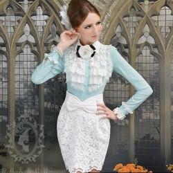 Turkuaz Yeni Sezon Kolları Volanlı Elbise Modelleri