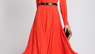 Turuncu Uzun Yeni Sezon Keten Elbise Modelleri