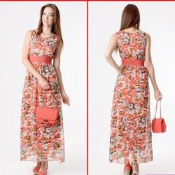 Uzun Çiçek Desenli Elbise Modelleri