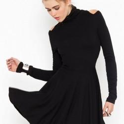 Uzun Kol Siyah Yeni Sezon Kloş Elbise Modelleri