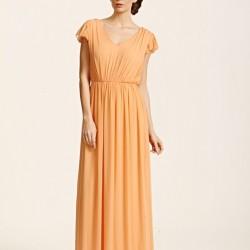 Uzun Yeni Sezon Kolları Volanlı Elbise Modelleri