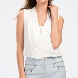 V Yaka Beyaz Park Bravo 2015 Bluz Modelleri