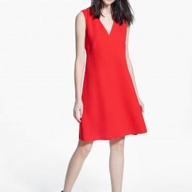 V Yaka Kolsuz Kırmızı Yeni Sezon Mango Elbise Modelleri