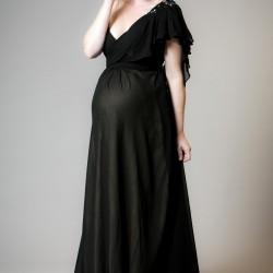 V Yaka Siyah Yeni Sezon Hamile Abiye Modelleri