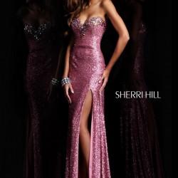 Yırtmaç Detaylı Pembe Sherri Hill Abiye Modelleri
