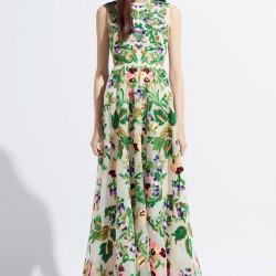 Yeşil Çiçek Desenli Elbise Modelleri