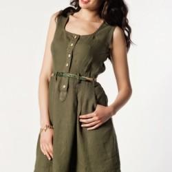 Yeşil Yeni Sezon Keten Elbise Modelleri