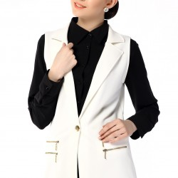 Fermuar Detaylı Beyaz Yelek 2015 Yelek Modelleri