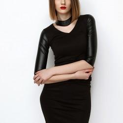 Kolları Deri Siyah 2015 Kısa Elbise Modelleri