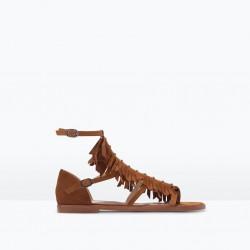 Püskül Detaylı Koyu Kahve Zara 2015 Sandalet Modelleri