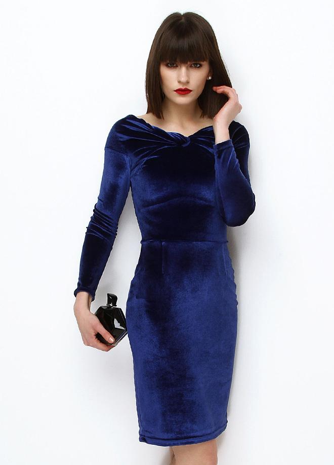 3807cc452aca5 Saks Mavisi Kadife 2015 Kısa Elbise Modelleri »