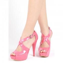 Çapraz Pembe Yazlık Topuklu Ayakkabı Modelleri