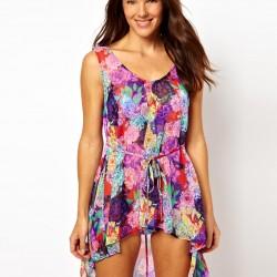 Asimetrik Kesim Yazlık Çiçekli Elbise Modelleri