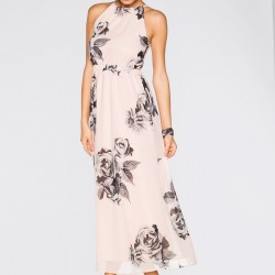 Baskı Desenli Pudra 2015 Yazlık Elbise Modelleri