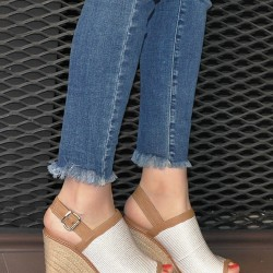 Beyaz Yazlık Dolgu Topuk Ayakkabı Modelleri