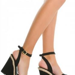 Bilekten Bağlamalı Siyah Yazlık Dolgu Topuk Ayakkabı Modelleri