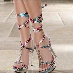 Bilekten Bağlamalı Yazlık Topuklu Ayakkabı Modelleri