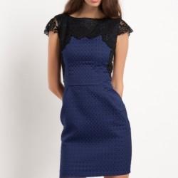 Dantel Detaylı Mor Jakarlı Elbise Modelleri